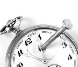 Clock with nail